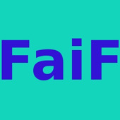 FaiF - blue text on a turquoise background
