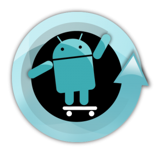 Cyanogen logo, blue Google Android on a skateboard with a swirl around it