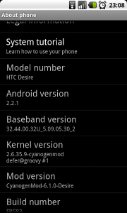 The status screen on my phone showing the Cyanogen version