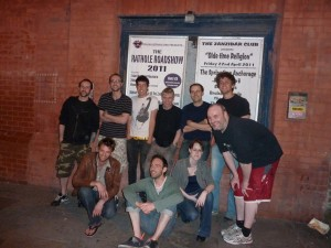 A team photo of 20lb Sounds, I Am Not Lefthanded, Rob Warren and band outside the Zanzibar in Liverpool.
