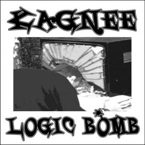 Kagnee - Logic Bomb album art. My friend H putting his head through a TV set.