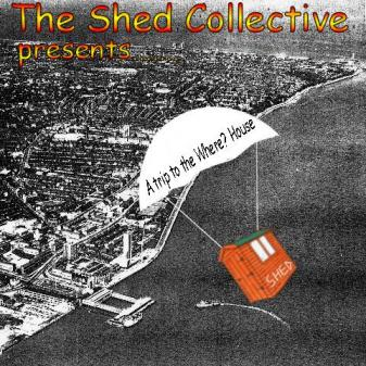 The Shed Collective album cover. A cartoon shed descending over the Mersey via parachute.