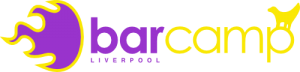 The barcamp liverpool logo, complete with lamb banna.