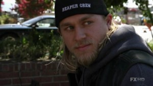 "Jax Teller wearing black baseball cap with the words ""reaper crew"""
