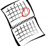 a drawing of a calendar with day circled in pen