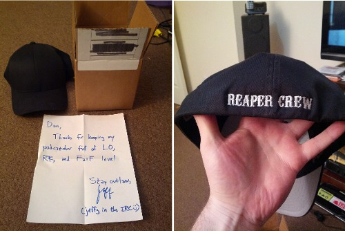 two pictures of a package containing SoA baseball cap