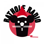 Christmas cover art. Rathole Radio mascot with a santa hat on.