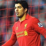A picture of Luis Suarez in red Liverpool kit during a game