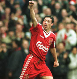 A picture of Liverpool player Robbie Fowler from 1996 celebrating a goal