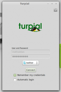 A shot of the login window for Turpial
