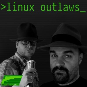 Linux Outlaws cover art. Fab and Dan in black and white looking towards camera