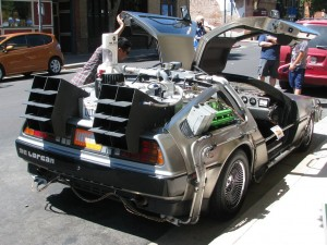 A photo of the DeLorean car from Back To The Future