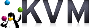 The Kernel Virtual Machine logo, Tux juggling next to the word KVM